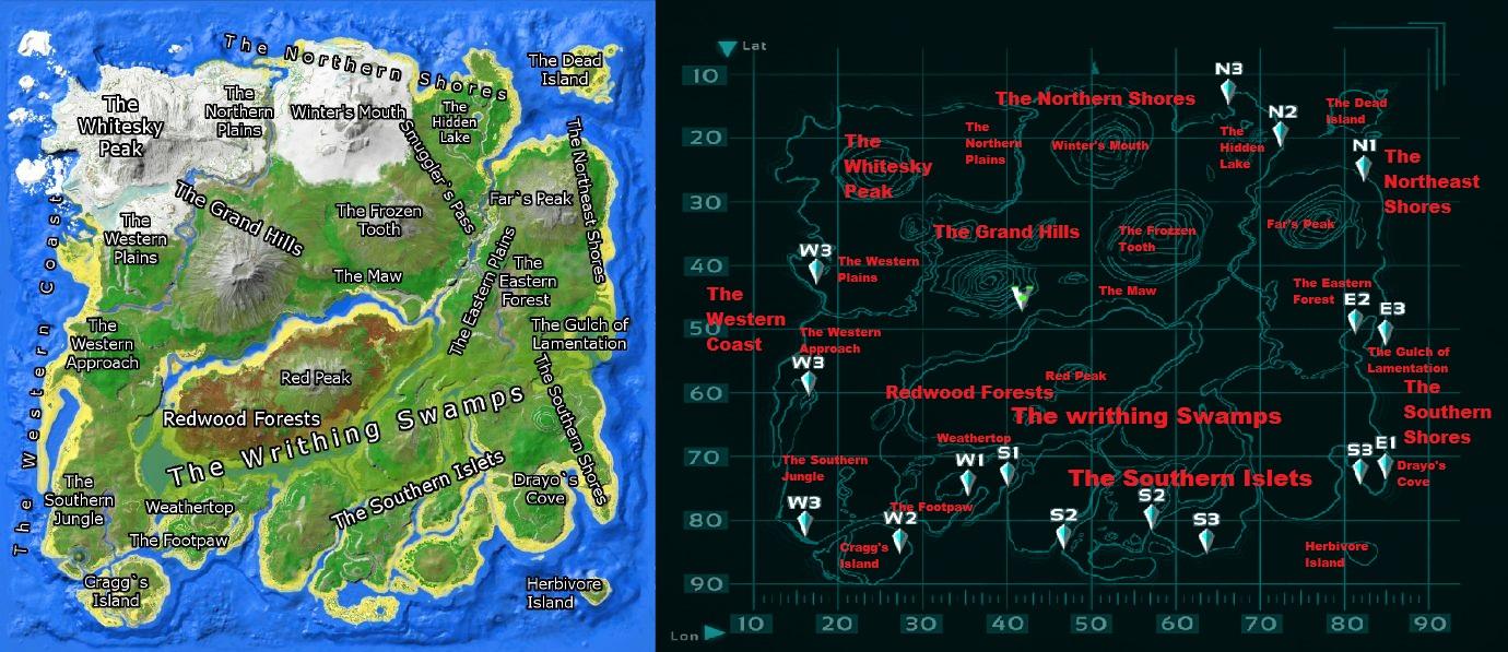 マップ Ark スポーン