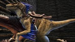 Dark blue + Purple Feather mutations on a Raptor