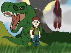 Sam and his pet Rex in ARK Island