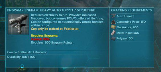 heavy turrets resource requirements and crafting - General
