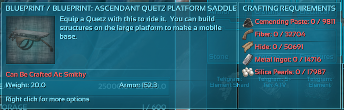 Unable to craft blueprint - requires too many resources - PC